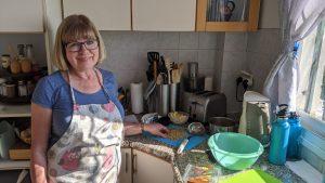 Frieda in the kitchen